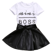 2017 New Fashion Toddler Kids Girl Clothes Set Summer Short Sleeve Mini Boss T-shirt Tops + Leather Skirt 2PCS Outfit Child Suit(China)