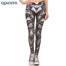 Buy QIAOZHI Sexy Girl WOW Game Horde Steel Armor Alliance Printed Elastic Fitness Workout Fashion Women Leggings Comic Grey Pants for $8.93 in AliExpress store