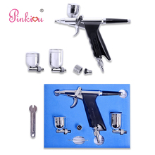 Pinkiou Dual Action 0.3mm Airbrush Kit for akvagrim Car Paint Body Tattoo Aerografo Air Brush Makeup Hobby Acrylic Paints(China)