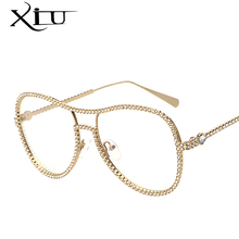 XIU Brand Designer Sunglasses Women Decorative Stone Brand Designer Copper Frame Clear lens Double Bridge Eyeglasses