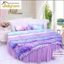 100%Cotton Round Bed Duvet Cover Sets 4pcs Bedding Sets Bedspread Style /Bed Sheet With Skirt Style 65 Colors (Accept Custom)(China)