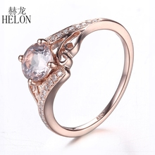HELON Solid 10K Rose Gold 0.81ct Morganite 6mm Round Pave Natural Diamonds Ring Engagement Wedding Women's Fashion Jewelry Ring