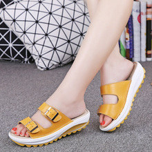 2017 New Summer Beach Slippers Sandals Casual Double Buckle Clogs Sandalias Women Slip on Flip Flops Flats Shoe Plus Size(China)