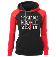 Normal People Scare Me Letter Print 2017 Autumn Winter Raglan Hoody Female Sweatshirt K-pop Clothing Women's Sportsuits Pullover
