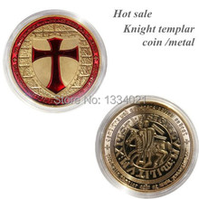 Sample order! 1pcs Exclusive Masonic UK Art challenge Coin 24k Gold Plated red enamel cross Knights Templar Coin collectiables(China)