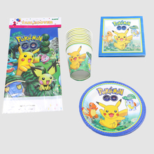pikachu theme kids favors cups baby shower tablecloth birthday party paper plates pokemon go napkins decoration supplies 61 pcs