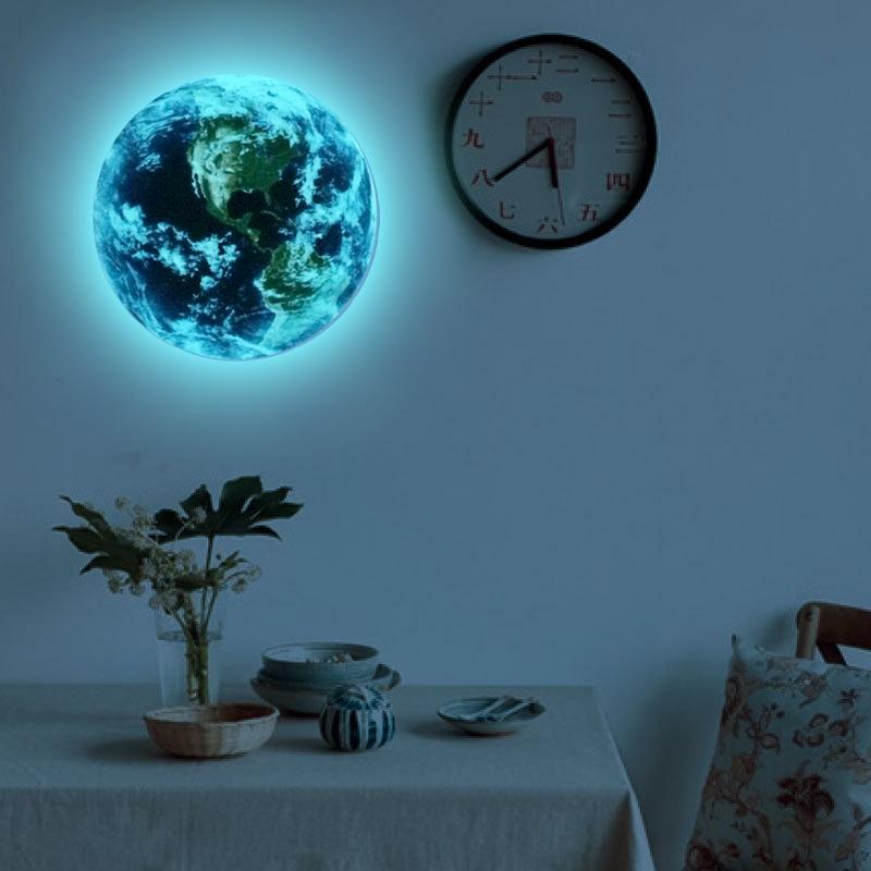 HTB1POPRRVXXXXa5XpXXq6xXFXXXt - Hot sale 1PCS new Luminous blue earth Cartoon DIY 3d Wall Stickers for kids rooms bedroom wall sticker Home decor Living Room