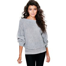 Women New Long Sleeve Solid O-neck Stylish Oversized Rib Knit Batwing Jumper Pullover