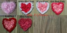"Free Shipping 30y/300pcs 3"" Chiffon Rosettes Heart Trim for Kids Hair Accessories,Valentine's Day Headband Flowers,Chiffon Heart"