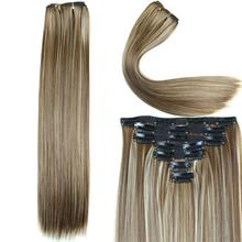 23 Inch 160g 16 Clips In Hair Extension Long Straight Synthetic Hair Extension Heat Resistant Hairpieces 14 Colors Available