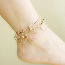 LNRRABC 1pc New Salable Boho Popular Golden Women Bell Anklet Bead Chain Tassel Barefoot Beach Foot Jewelry