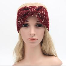 2016 New 10pcs Fashion Golden Knot Turban Soft Knit Headband Beanie Crochet Headwrap For Women Party Boho Hair Accessories