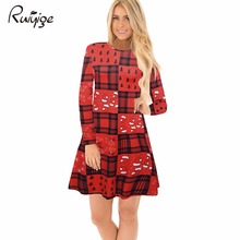 Ruiyige 2017 Women Dress Santa Long Sleeve O-Neck Strip Cap Tree Printed Short Dresses Christmas Party Vestido De Festa Xmas(China)