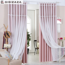 Lucky floral tassel lace head top curtain pink color cloth curtain+voile sheer black out fabric bedroom customize curtain window(China)