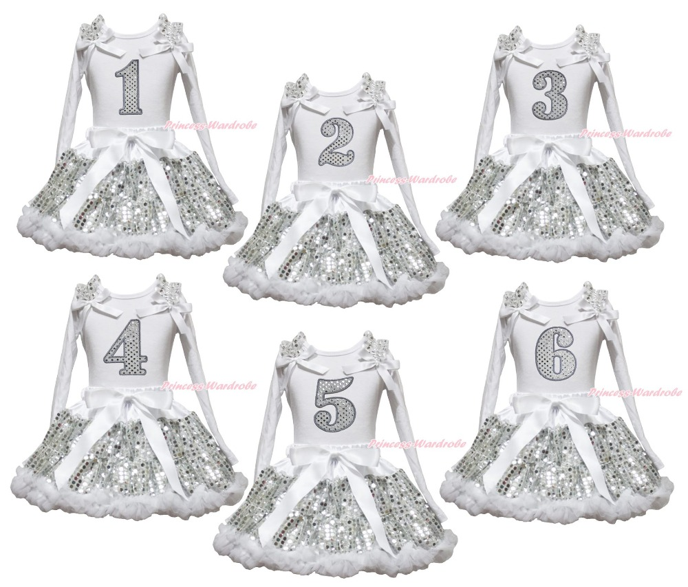 Birthday 1ST 2ND 3RD 4TH 5TH 6TH White Long Sleeve Top Girls Bling Sequin Skirt Outfit 1-8Y<br>