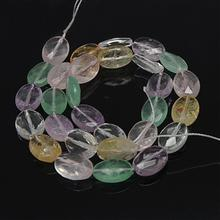 Pandahall Natural Beads Strands, with Amethyst, Crystal, Citrine, Rose Quartz and Green Fluorite, Faceted, Oval, Mixed Stone