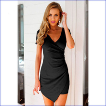 The new Europe and the United States summer pure color v-neck package buttocks dress is irregular Women's clothing