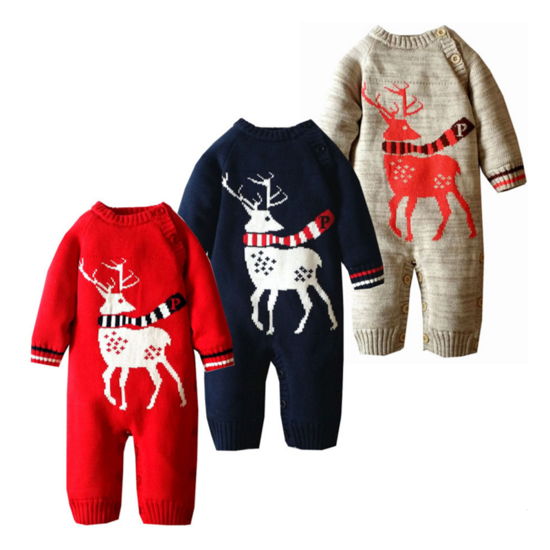 Baby Knitted Sweater Romper 0-18 Months Reindeer Thick Cotton Long Sleeve Autumn Winter Infant Boy Girl Baby Clothing<br><br>Aliexpress