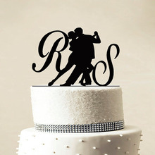 Custom Wedding Glitter Silver Gold Cake Topper - Personalized Monogram Cake Topper - Initial Cake Topper  - Bride and Groom