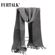 FURTALK 100% Lamb Wool Plaid Male Scarf Men Luxury Brand Winter Wool Autumn Winter Scarves for Men(China)
