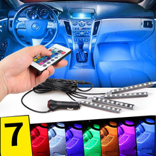 YIJINSHENG Car RGB LED Strip Light 4pcs LED Strip Lights Decorative Atmosphere Lamps Interior Light  Car Styling With Remote