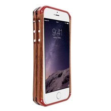 "Luxury Cell Phone Wooden Case+ Aluminum Metal Bumper Cover For iPhone5 5s 6 4.7"" 5.5"" With leather Skin + Retail Package"