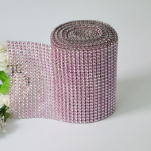 Pink 1 yard 24 rows Hot Fix Rhinestone Wrap Roll Wedding Party Decorations Diamond Mesh Crystal Cake Ribbon Celebration Trimming