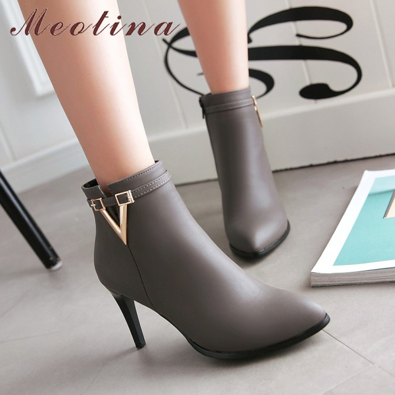 Women's High Heel Ankle Boots, Martin Boots, Zip Pointed Toe, High Heels 9