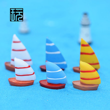 Big & Small Sailboat Models Colorful Mini Boat Figures Tank/ Bottle/ Garden Miniatures DIY Bag Pendant/ Hanging Finding(China)