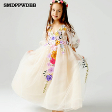 SMDPPWDBB 2-12Y Princess Tulle Flower Girl length Evening Dress Kids Party Bridesmaid Wedding Lavender Gown Robe Enfant Dress