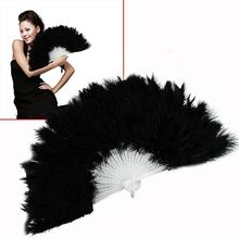 Fluffy Soft Feather Costume Hand Held Folding Fan Black