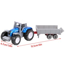 4pcs 1:64 Die Cast Model Cars for Child Kids Children Farm Series Tractor Toys with Trailer Set Alloy  Plastic