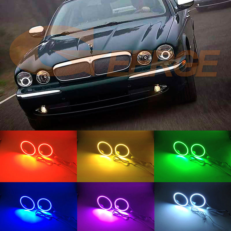 For Jaguar XJ XJ6 XJ8 X350 X358 2003-2009 Xenon headlight Excellent Multi-Color Ultra bright RGB LED Angel Eyes kit<br>