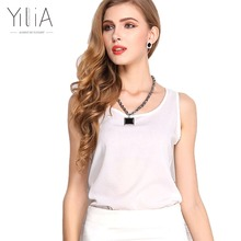 Yilia Chiffon Blouse Shirt 2017 Plus Size 11 Color Tank Tops Women Summer Shirts Blusas Sleeveless Pullovers Vest Top Tees White(China)