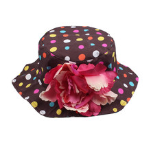 2015 Kids Summer Hat Newborn Cute Baby Girls Toddlers Sun Polka Dot Flowers Cotton Summer Hats Cap 3-8 Years Free Shipping