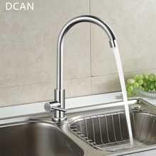 DCAN Easy Install Kitchen Faucet Deck Mount Vertical Cold Water Faucet Single Handle One Hole 360 Degree Rotatable Sink Faucets(China)