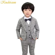 Kindstraum 3pcs Boys Suits for Weddings Cotton Plaid Blazer+Vest+Pants Kids England Clothing Sets Children Formal Suits, MC740(China)