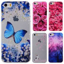Phone Cases sFor Apple iPhone 5 5S SE Flowers Rose Plants Butterfly Pattern Clear Soft TPU Back Cover for iPhone5 iPhone5S 4.0""