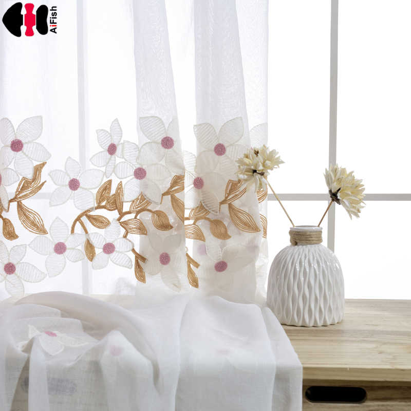 Blue Pink Kids Window Curtain For Baby Princess Bedroom Embroidery Peach Blossom Tulle Finished Cotton Polyester For Kids WP016C