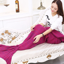 Hot Super Soft Sleeping Bed Yarn Knitted Mermaid Tail Blanket Handmade Plaid Crochet Anti-Pilling Portable Blanket For Autum