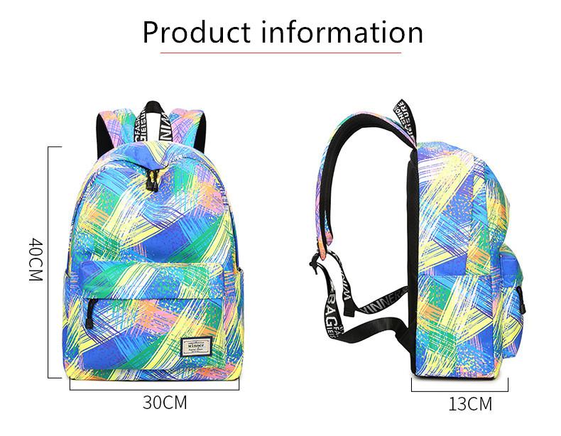 Fashion Women Waterproof Backpack School Bag Personality Printing ...