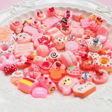 50pc Pink Yellow Artificial Cake Miniature Food Gift Decoration Phone Case Headwear DIY Accessories(China)
