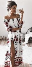 Buy Women Sexy Shoulder Half Sleeve Floral Print Maxi Boho Long Dress Beach Cocktail Party Dress Womens Slash Neck Long Dresses for $4.51 in AliExpress store
