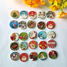 120pcs/lot 24mm Mixed Color Christmas Wooden Buttons Children Cartoon Sewing Decorations Buttons Scrapbooking Crafts