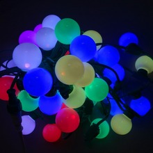 LED G40 addressable WS2811 DC12V 8mm technicolor pixel string;50nodes/strand;all GREEN wire and case;IP67(China)