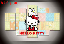 AtFipan Home Decor Modular Wall Paintings 5 Panel Cartoon Animals Hello Kitty Modern Poster Oil Canvas Pictures For Living Room