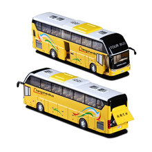 1:32 Real Voice Tour Bus Toy Shuttle Bus With Light Sound Children Alloy Model Car Toys