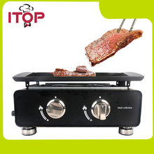 ITOP Brand New La Plancha BBQ Grill Gas Griddle Outdoor Machine Stainless Steel Double Burners LPG(China)