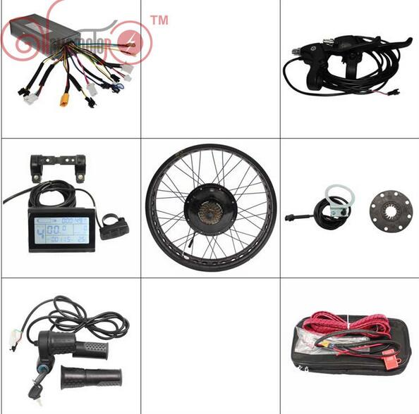 "Ebike Kit 36V 1200W/48V 1500W Fat Tire 20-26""Electric Bike Rear Wheel Conversion Kits Wheel Controller LCD Brake Levers Throttle"