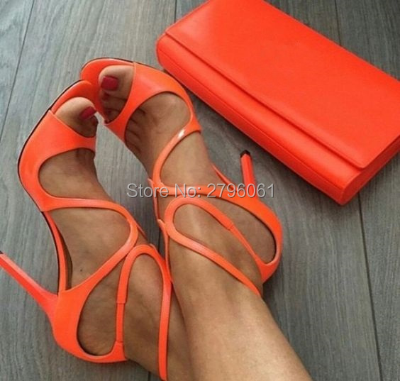 Gold Metallic Leather Strappy Lance Sandals Women Party Shoes Woman Open Toe Cut-Outs Buckle High Heels Gladiator Sandals Women<br>